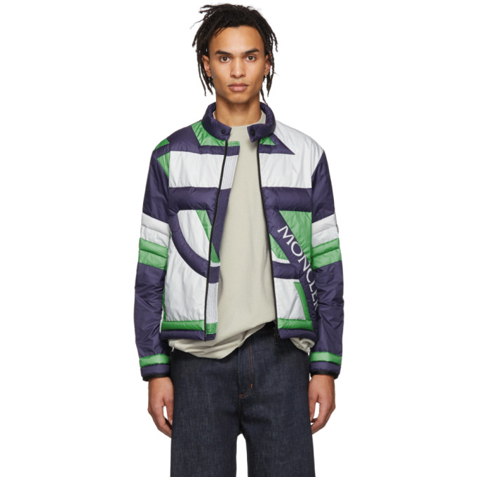 5 Moncler Craig Green Navy & Green Down Traction Jacket by Moncler Genius
