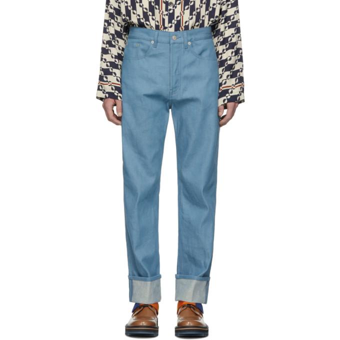 Blue Panthero Jeans by Dries Van Noten