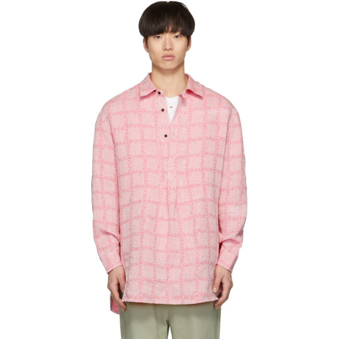 Pink Linen Grid Tunic Shirt by Jw Anderson