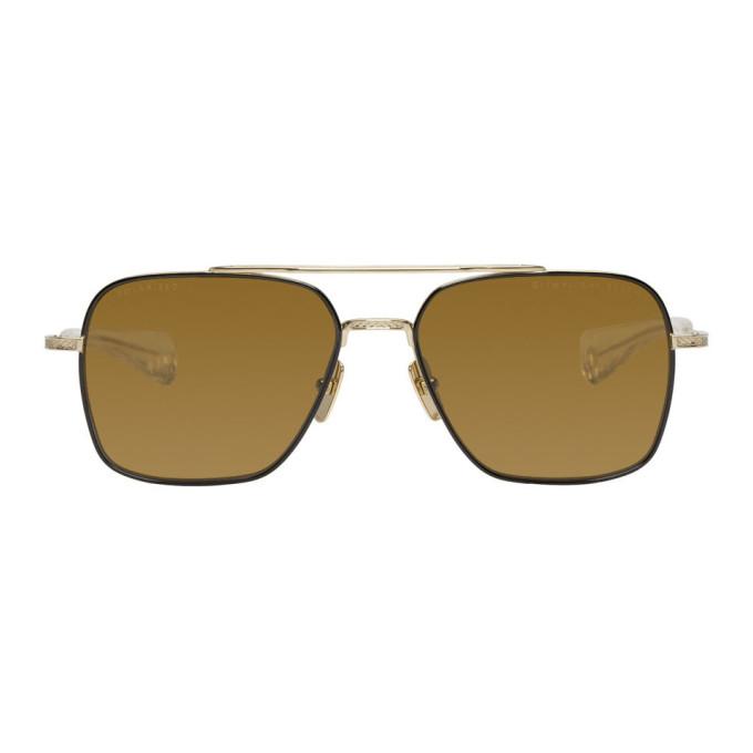 DITA Dita Black And Gold Flight-Seven Sunglasses in Gold/Dk.Brn