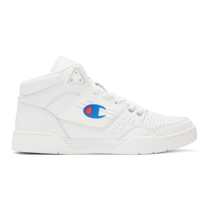 White 3 On 3 Sp High Top Sneakers by Champion Reverse Weave