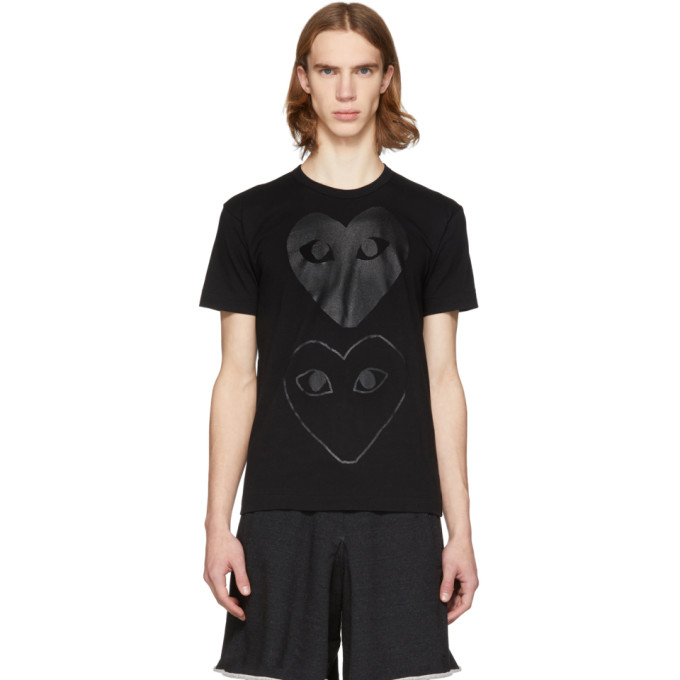 Black Two Hearts T Shirt by Comme Des GarÇons Play