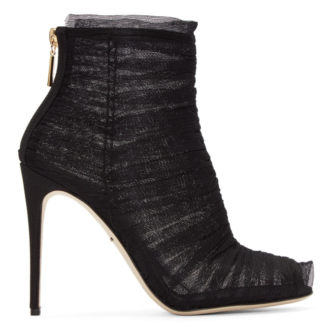 DOLCE & GABBANA DOLCE AND GABBANA BLACK RUCHED TULLE BOOTS