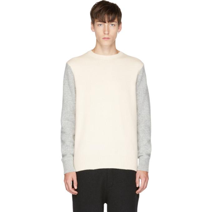 Rag & Bone Grey & Ivory Victor Crew Sweater In Chalk