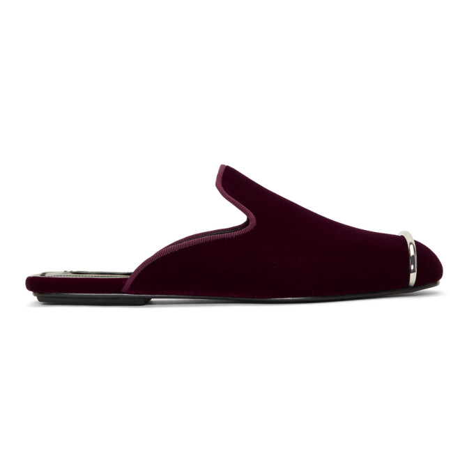 Jaelle Embellished Velvet Slippers in Red