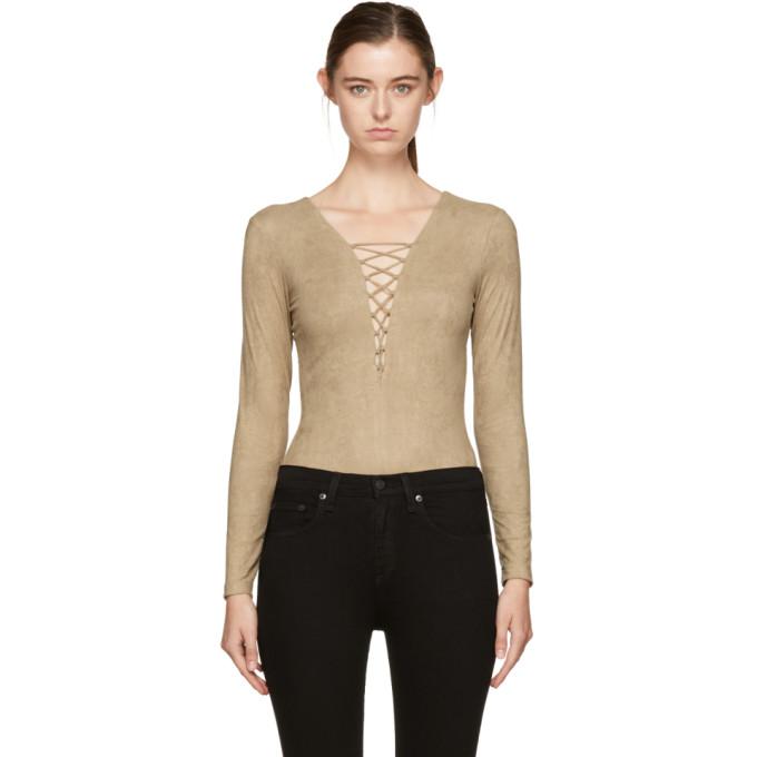 T By Alexander Wang Woman Lace-up Stretch-jersey Bodysuit Camel Size 0 Alexander Wang