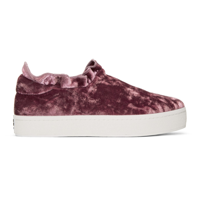 OPENING CEREMONY Cici Velvet Ruffle Slip On Sneakers in Pink