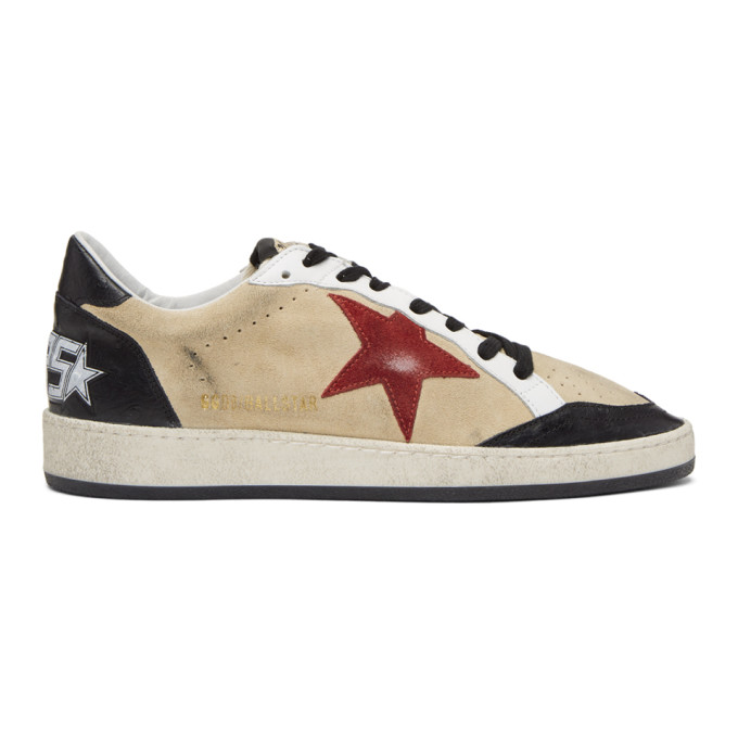 GOLDEN GOOSE Beige & Black Suede Ball Star Sneakers
