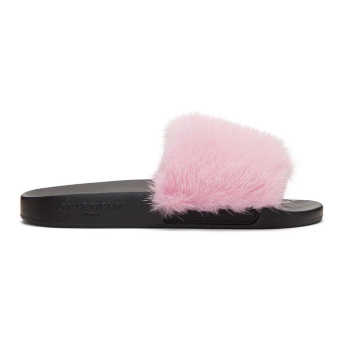 Givenchy Mink Fur Amp Rubber Slide Sandal Fuchsia In