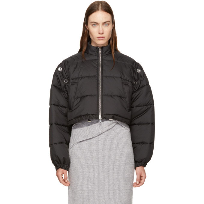Detachable sleeve cropped puffer jacket