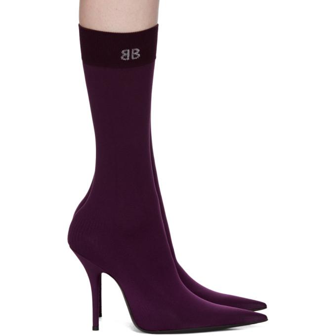 Purple BB Heeled Sock Boots Balenciaga
