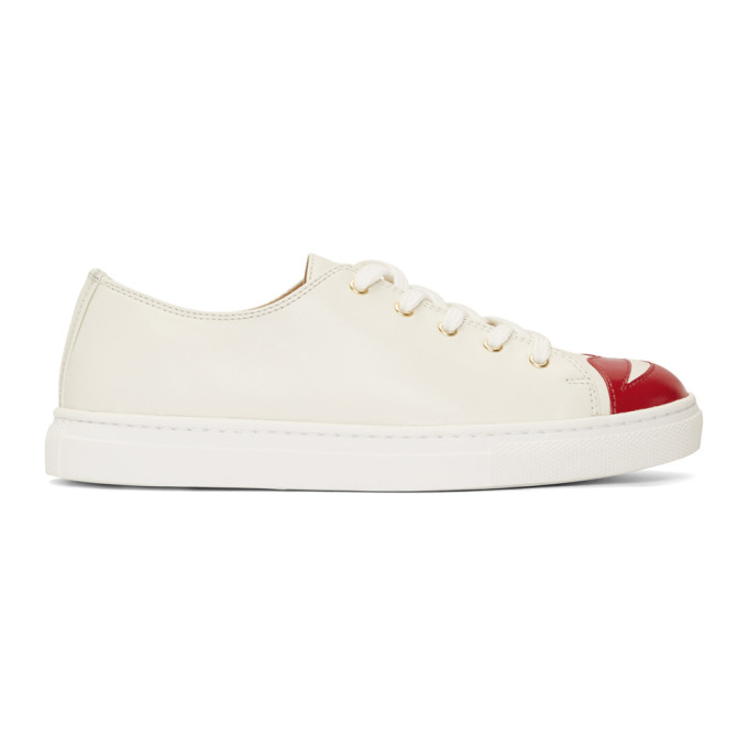 CHARLOTTE OLYMPIA OFF-WHITE KISS ME SNEAKERS