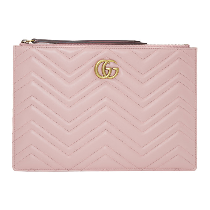 Gucci Pink Gg Marmont 2.0 Pouch in 5909 Perfect Pink