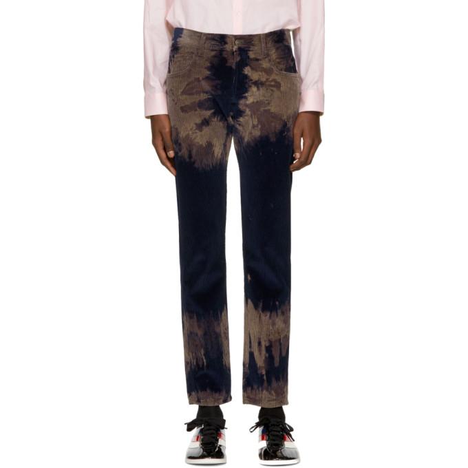 Gucci Blue Tie-dye Chlorine Punk Trousers In Navy Multi