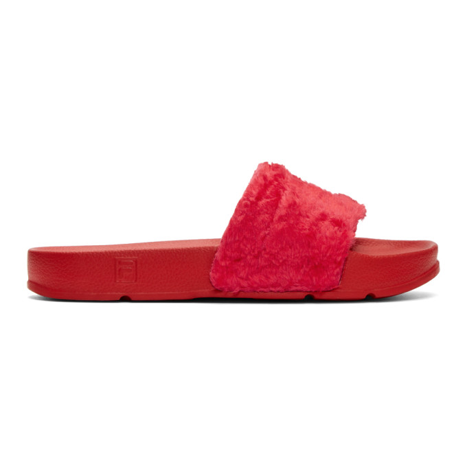 Baja East Red Fila Edition Shearling Drifter Slides