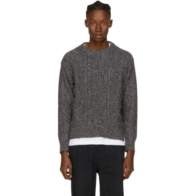 NOAH Grey Cashmere Donegal Crewneck Sweater in Grey Combo