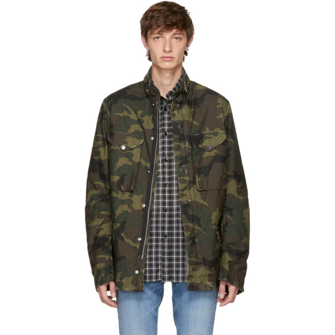 Amiri M-65 Camouflage-print Cotton-canvas Field Jacket - Army Green In 117cam Camo