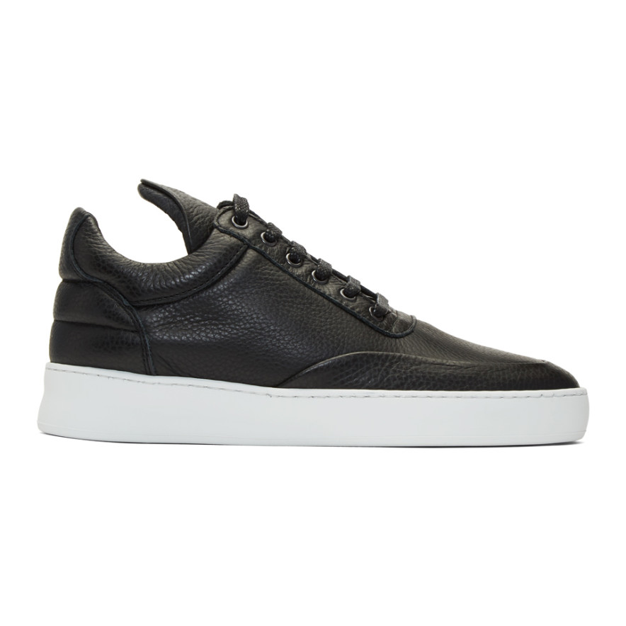 Black Low Plain Sneakers by Filling Pieces