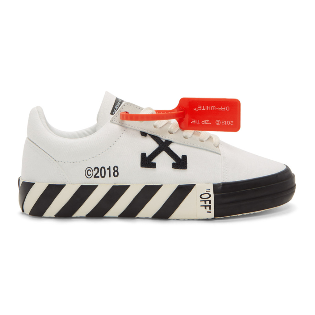 White Striped Vulcanized Sneakers by Off White