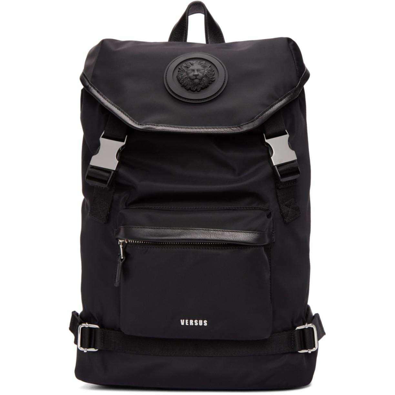 Black Lion Head Backpack by Versus