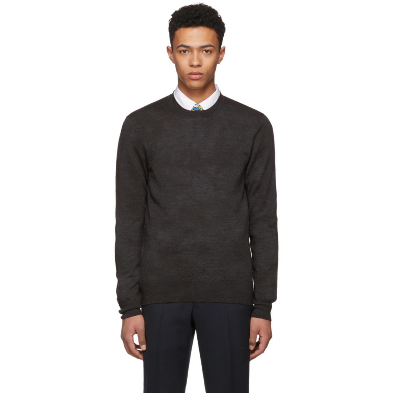 Grey Knit Crewneck Sweater by Comme Des GarÇons Homme Deux