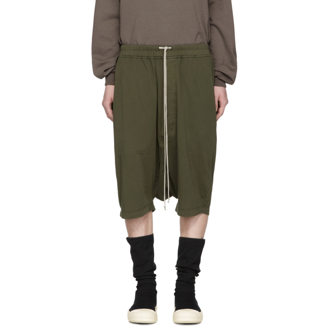Green Drawstring Pods Shorts by Rick Owens Drkshdw