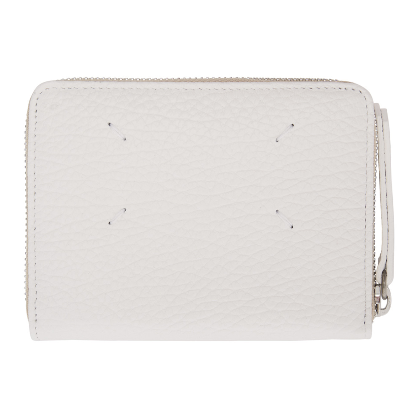 White Leather Zip Wallet by Maison Margiela