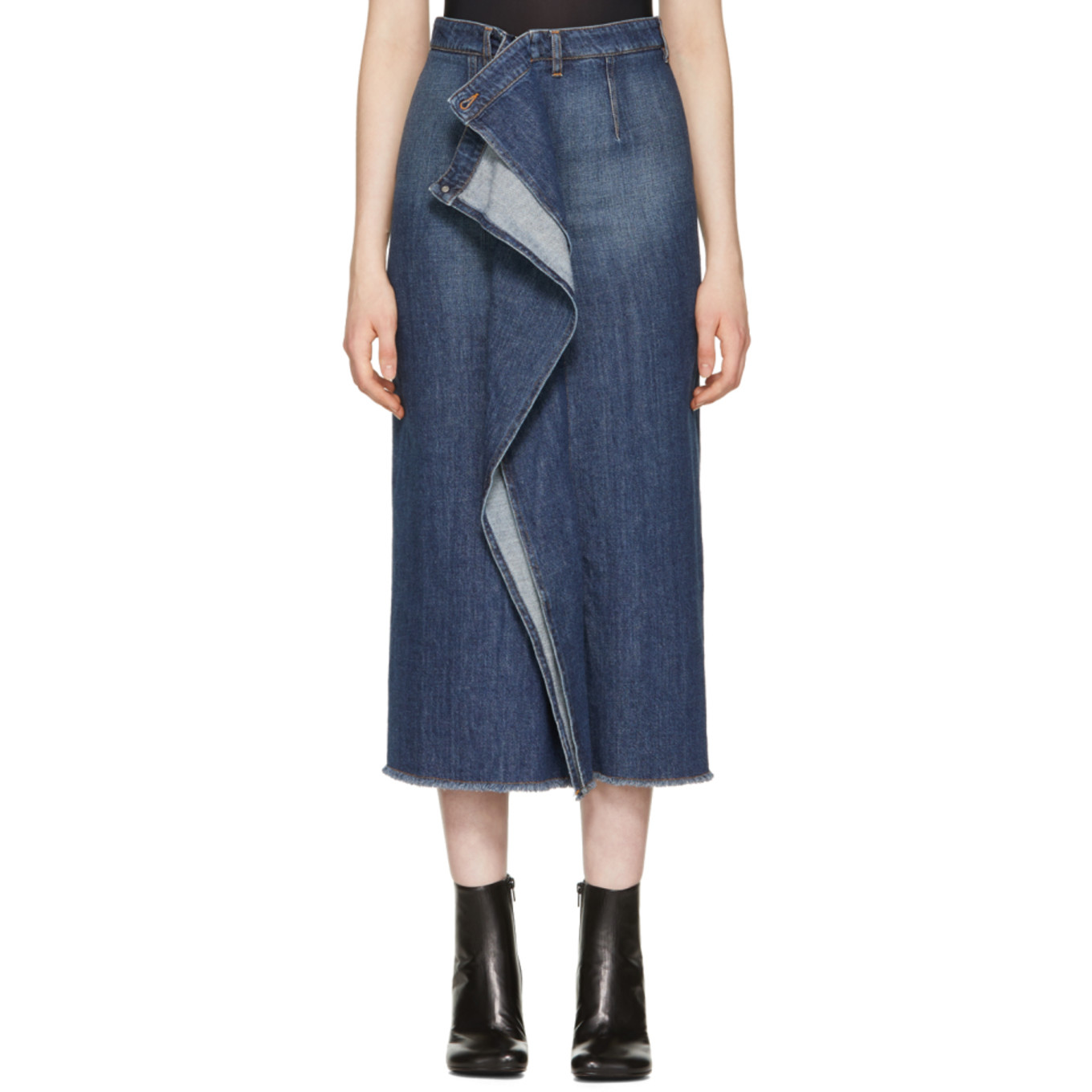 Blue 80's Wash Denim Skirt by Mm6 Maison Martin Margiela
