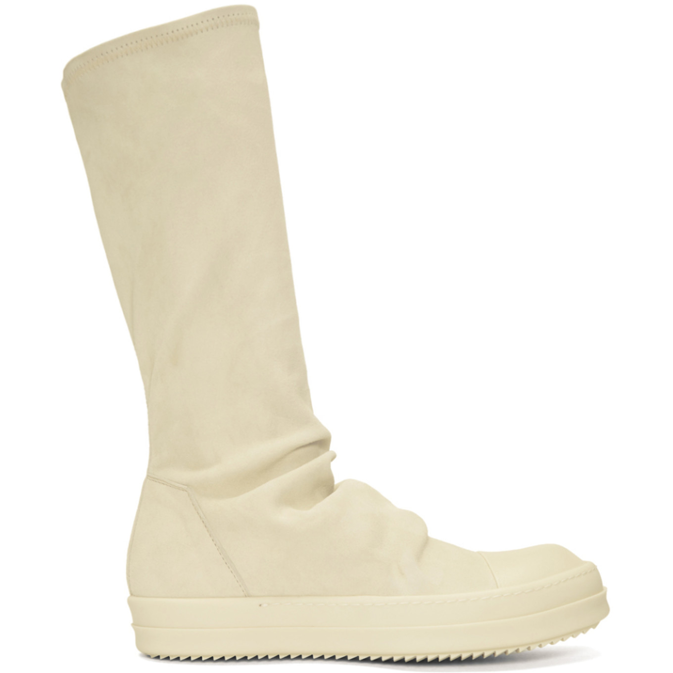 Off White Suede Sock High Top Sneakers by Rick Owens
