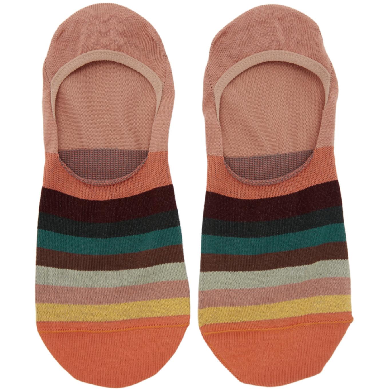 orange-multistripe-no-show-socks by paul-smith