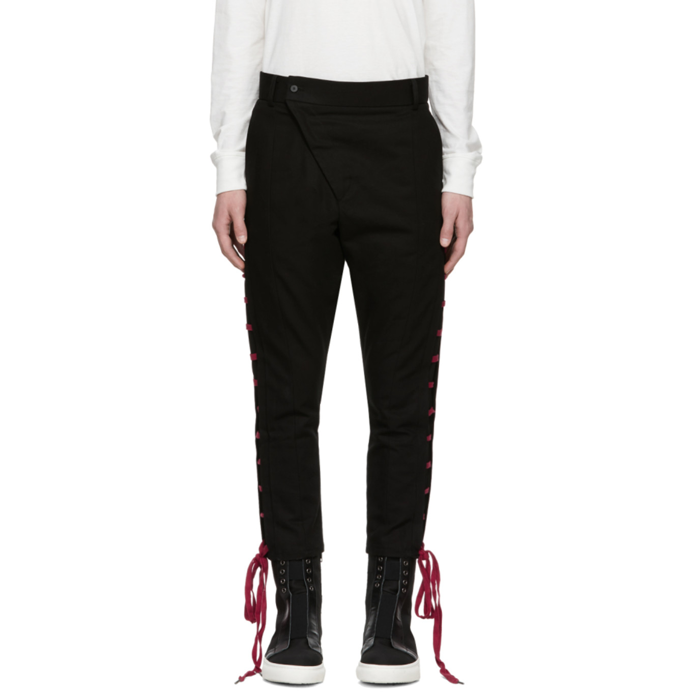 Black & Red Straight String Trousers by D.Gnak By Kang.D