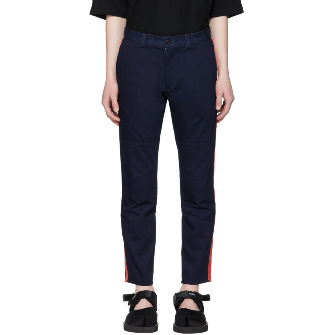 Indigo Twill Side Line Trousers by Blue Blue Japan