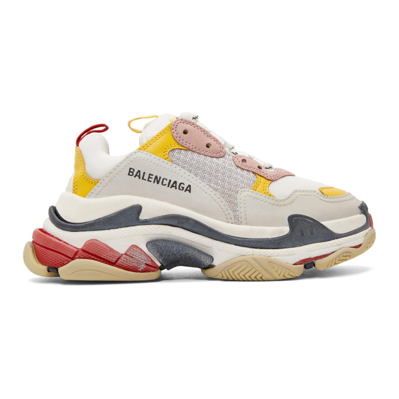 Yellow & Grey Triple S Sneakers by Balenciaga