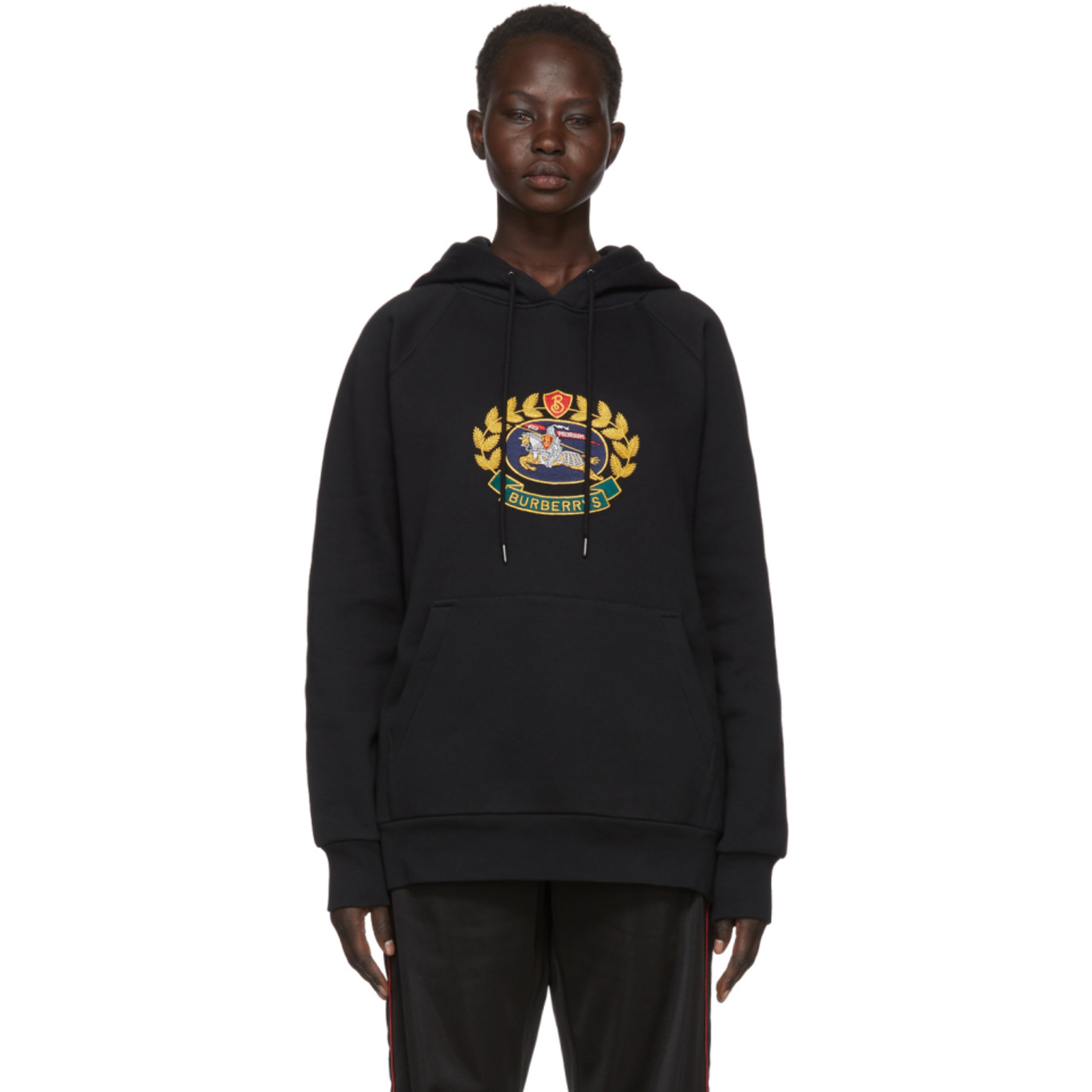Black Embroidered Logo Crest Hoodie by Burberry