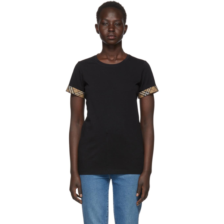 Black Check Cuffs T Shirt by Burberry