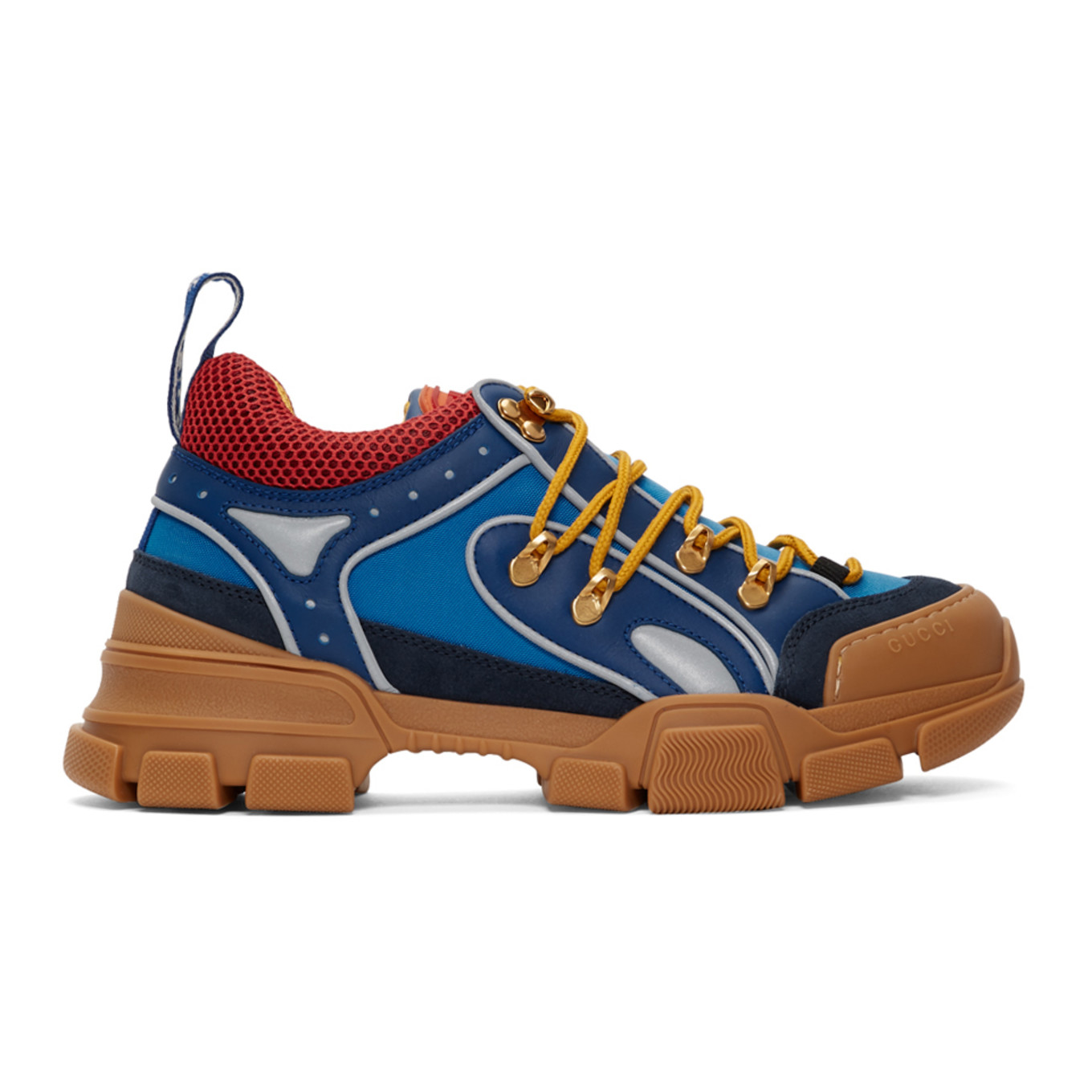 Blue & Tan Flashtrek Sneakers by Gucci