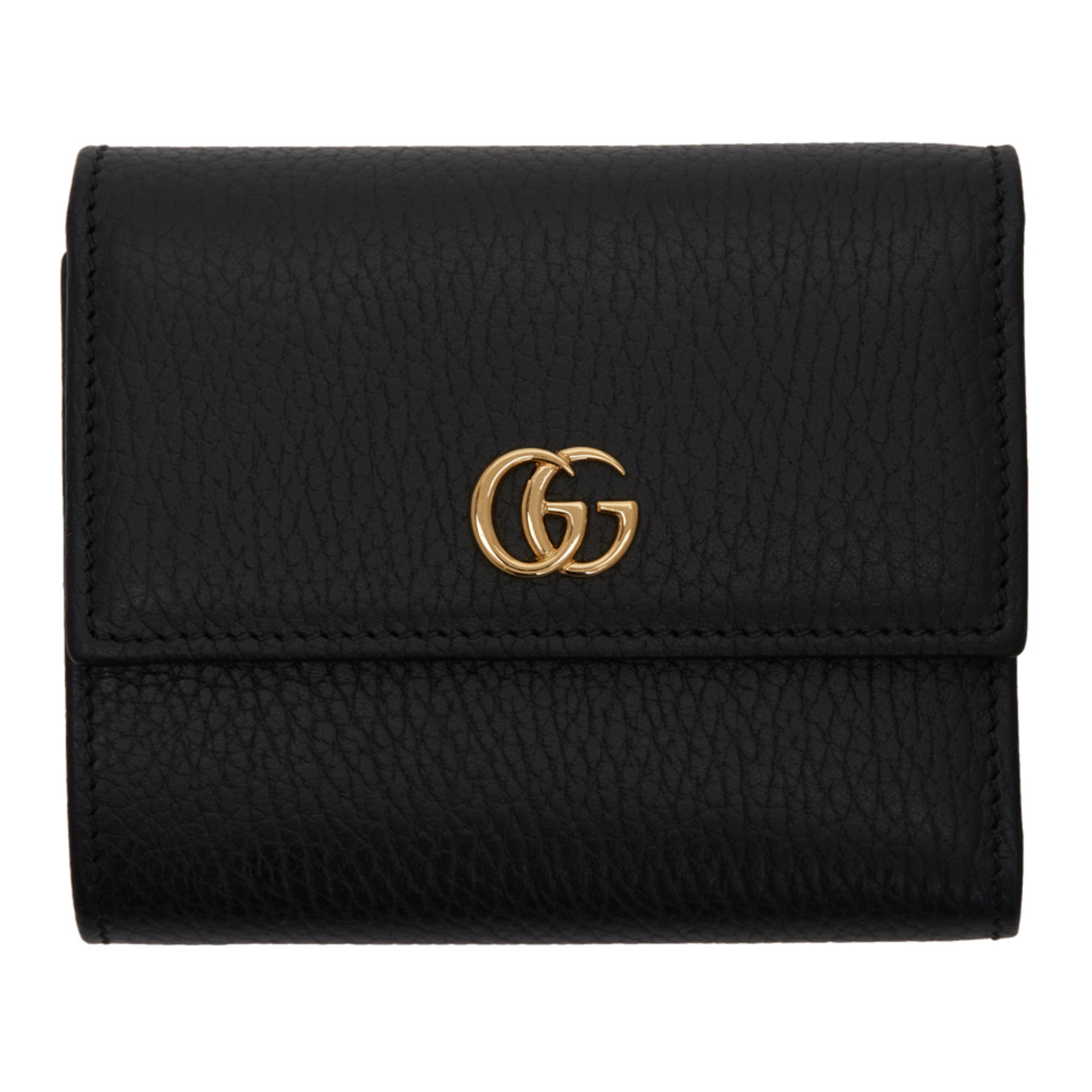 Black Small Gg Marmont Trifold Wallet by Gucci