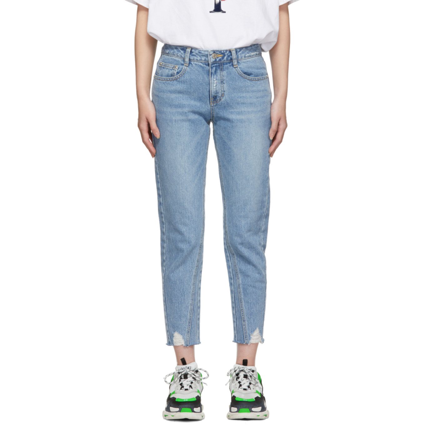 Blue Destroyed Semi Baggy Jeans by Sjyp