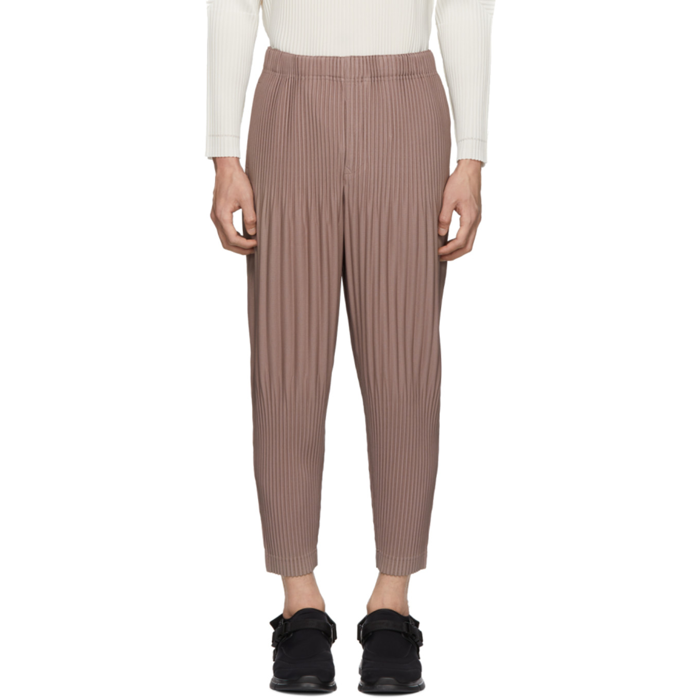 Pink Cropped Wide Pleat Trousers by Homme PlissÉ Issey Miyake