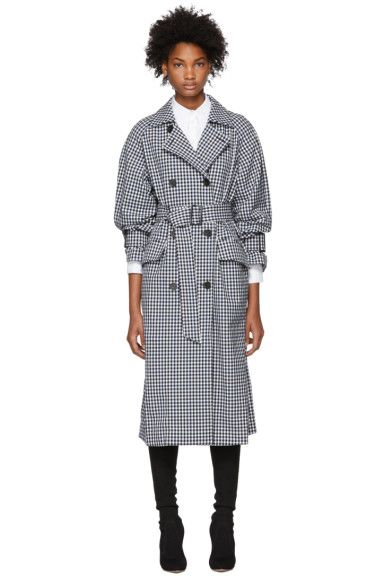 Tibi - Black & White Gingham Trench Coat