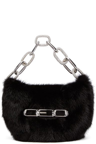 Alexander Wang - Black Fur Micro Mini CEO Bag