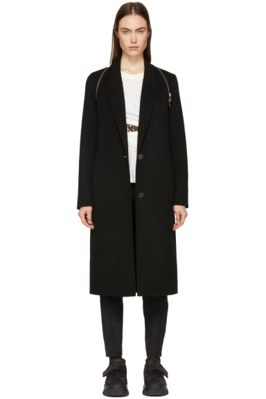 Alexander Wang - Black Peaked Lapel Zip Coat
