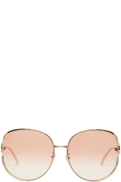 Gucci - Gold & Pink Oversized Urban Fork Sunglasses