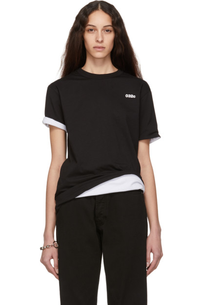 032c - Reversible Black & White Cosmic Workshop Logo T-Shirt