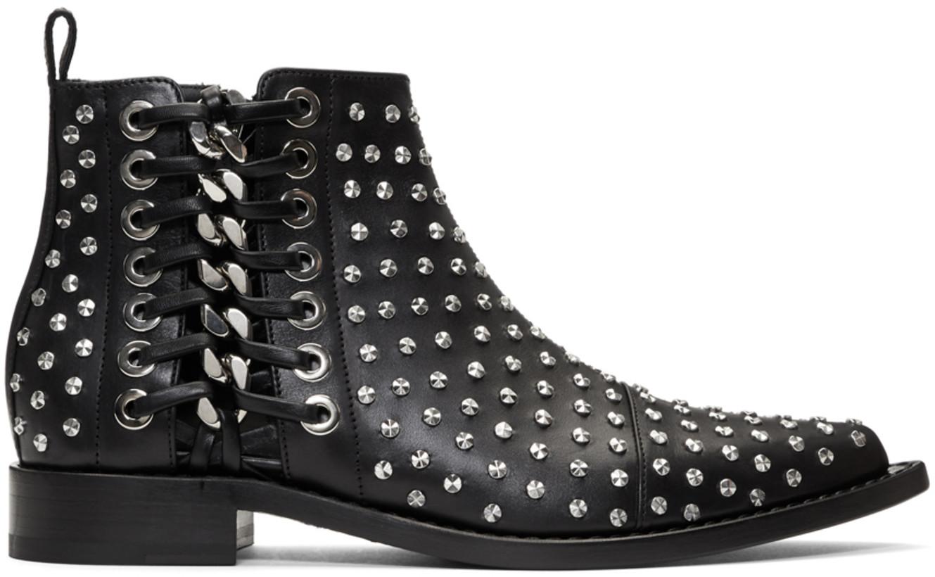 Alexander McQueen Black Studded Chain Boots