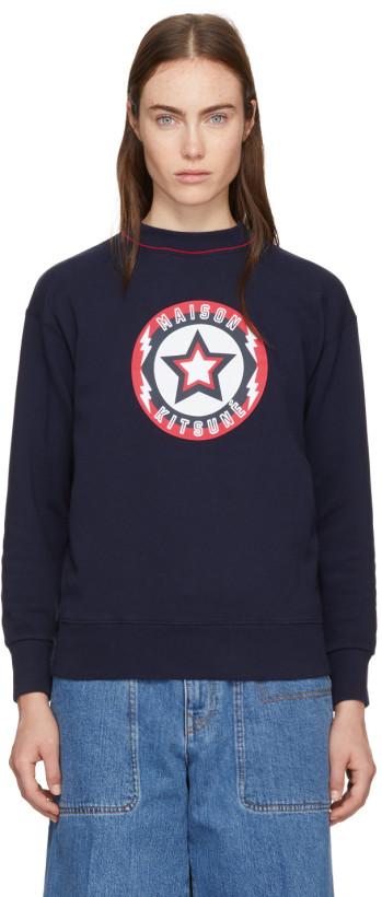 Maison Kitsuné Navy 'Super Maison Kitsuné' Sweatshirt