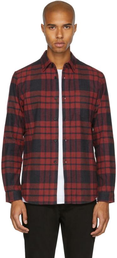 John Elliott Red Check Flannel Shirt