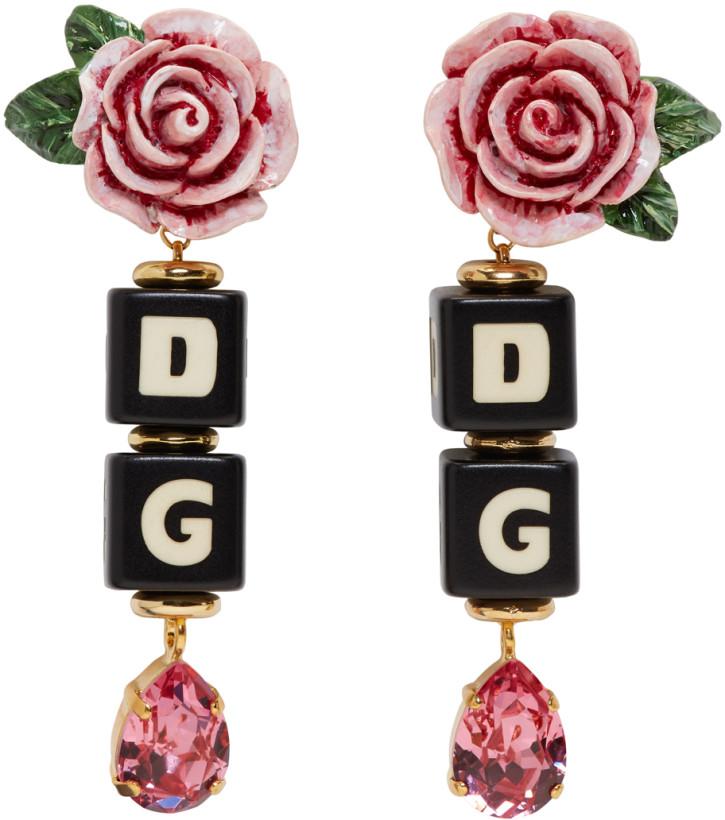 Dolce & Gabbana Black & Pink DG Heart Clip-On Earrings