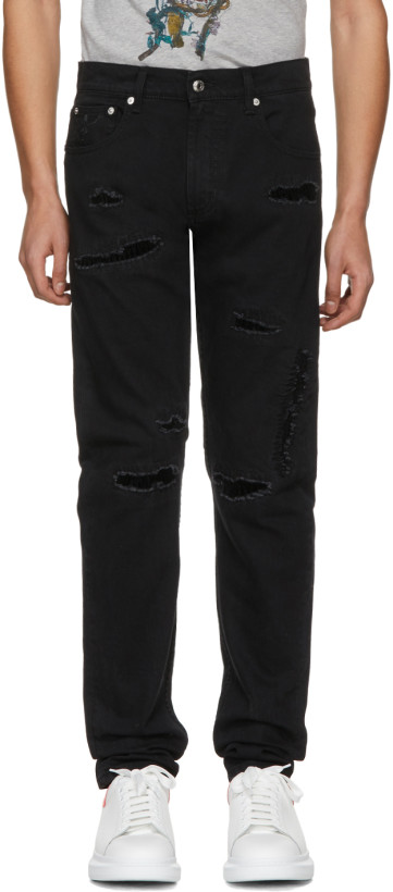 Alexander McQueen Black Destroyed Jeans