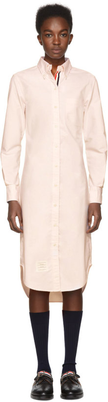 Thom Browne Pink Classic Button-Down Point Collar Shirt Dress